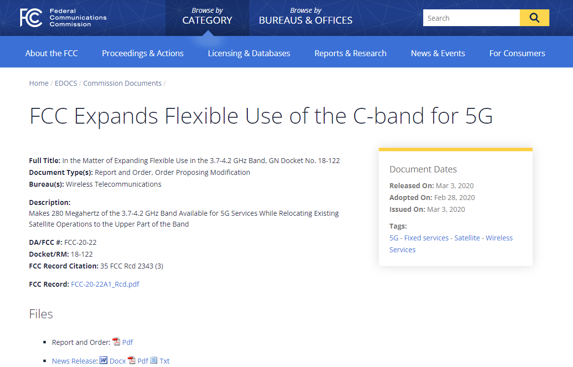 FCC Expands Flexible Use of the C-band for 5G